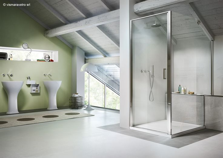 bathroom | nordic modern design | Simple stunning bathroom with wood ceiling, a glass shower enclosure. Modern, minimal, chic, scandinavian, nordic and beautiful. By: @vismaravetro