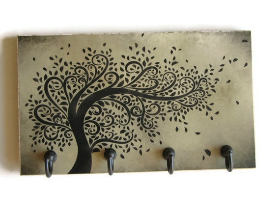 Whimsical Tree Art Key Hook Sage Green Decor Rack Wind Ing Home Organizer Wall Holder Decorative Tile 27 00