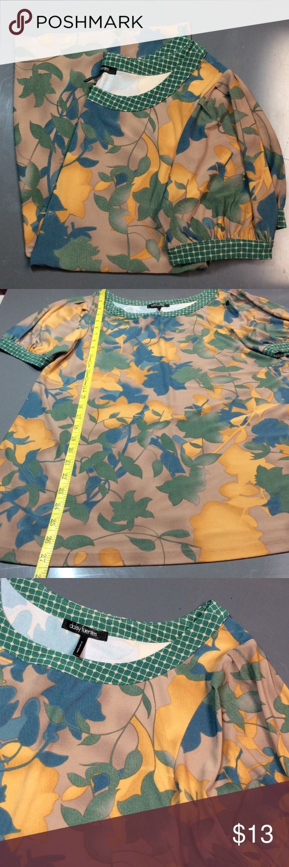 🆕Long Fall Floral Short Sleeve Top Mustard Colors are Mustard, Forest Green, Mocha, Navy and Cream. Cut for warm fall days! Polyester - spandex  blend Daisy Fuentes Tops Blouses