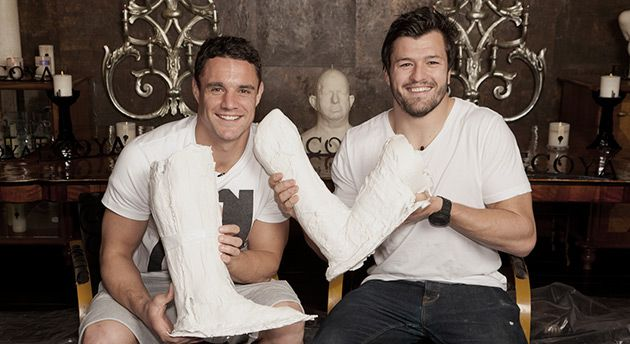Dan Carter & Adam Ashley-Cooper with their cast molds