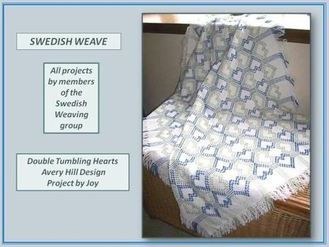 Swedish weaving is fun,relaxing and theraputic.  You project can go with you most of the time, and it becomes a heirloom for those who are fortunate to recieve your throw or dish towel.  I really enjoy this craft