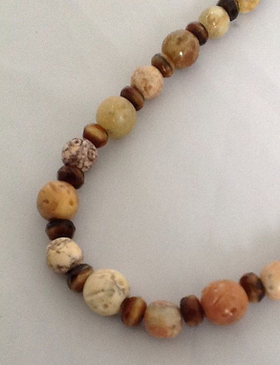 17 Plus Inch Necklace of 7 and 9mm Hand Carved by PebblesAndTwiggs