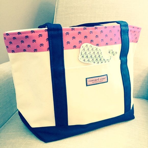 VINEYARD VINES Lrg Whale Crossbone Tote Brand-new absolutely gorgeous Vineyard Vines classic tote. Design: Whale Crossbone. Color: Lipstick. Originally $98, recently purchased so list price is firm. NO TRADES. NO OFF-POSH TRANSACTIONS. Thanks.  Vineyard Vines Bags Totes