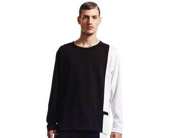 Mens sweater Mens white sweater Mens sweatshirt by EliranNargassi