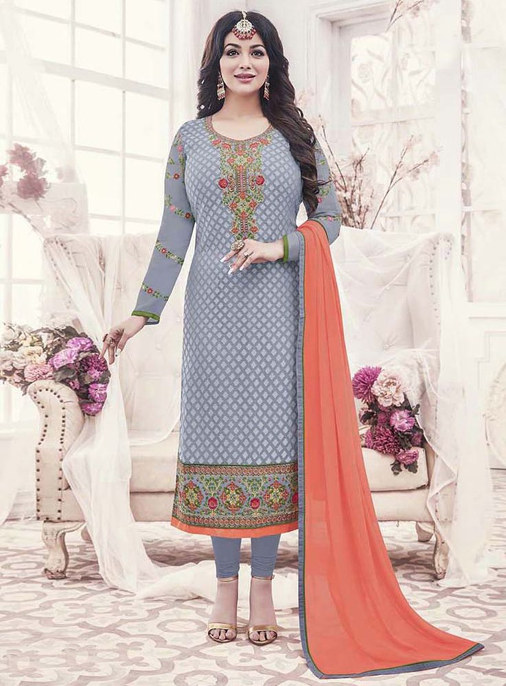 Ayesha Takia Gray Georgette Churidar Salwar Suit 120995