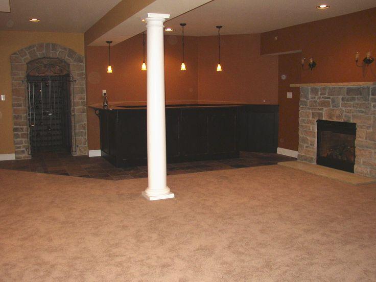 basement | Sigovich Design & Build Interiors - Finished Basements (colors, tile, lighting, in corner)