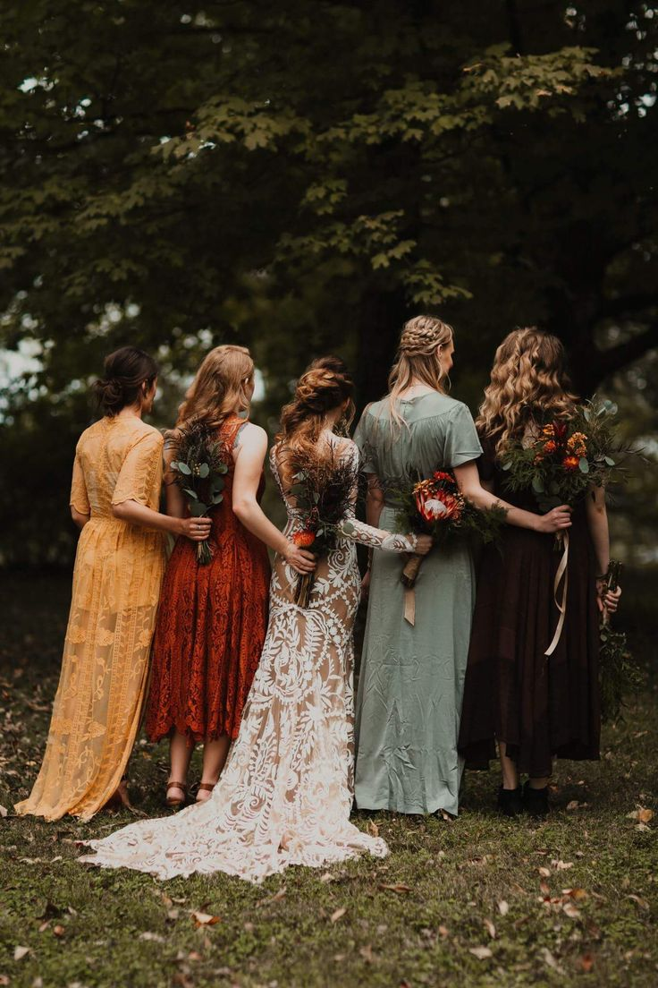 Fall Wedding Mix Matched Bridesmaid dresses and a beautiful fall wedding at Riverwood Mansion in Nashville, TN. Rue De Sine Bridal Gown. Photo by Cody & Allison Photography