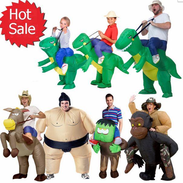 インフレータブルハロウィン衣装のための大人子供ファンt-rexゴリラ相撲牛馬カウボーイユニコーン恐竜インフレータブルコスチューム