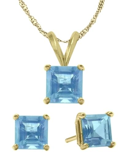 14K Yellow Gold CHOOSE YOUR OWN Solitaire Princess Cut Pendant And Earrings Set