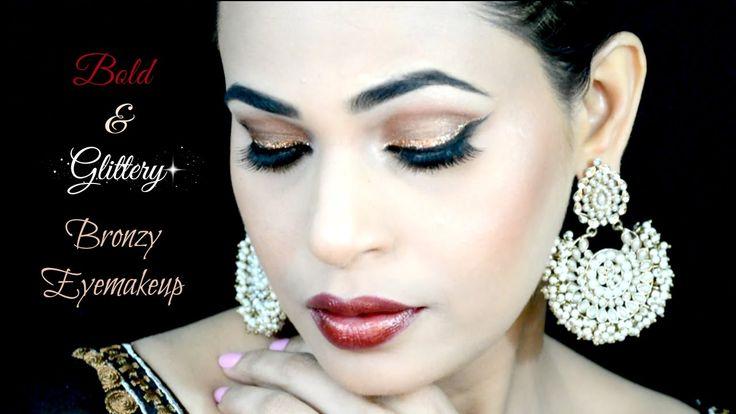 Bold & Glittery Bronzy Eye Makeup