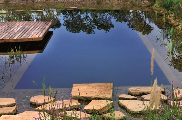 Swimming pond created using firestone pondgard epdm for Epdm firestone bassin