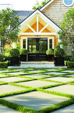 landscape designer Scott Shrader ~ cement block patio.