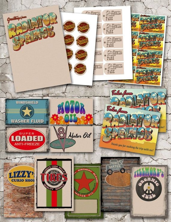 Party PackVintage Radiator Springs Printable by theblueeggevents, $30.00