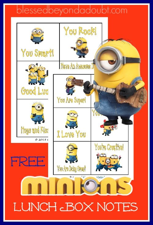 FREE Minions Lunch box notes! Super cute!