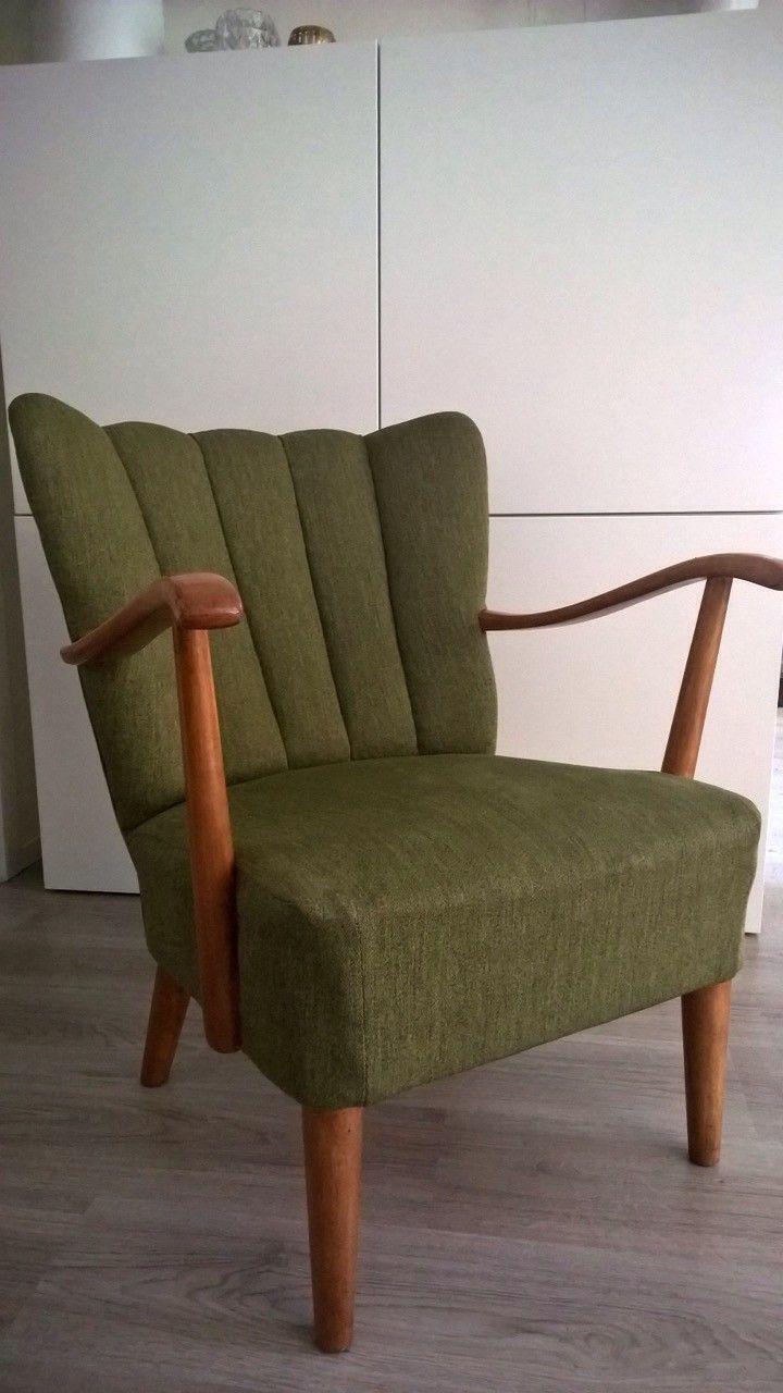 (5) FINN – Liten grønn retro lenestol