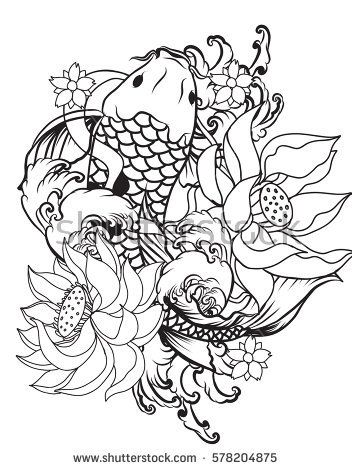aef8ced5b hand drawn Outline koi fish tattoo with flower , tattoo design ...