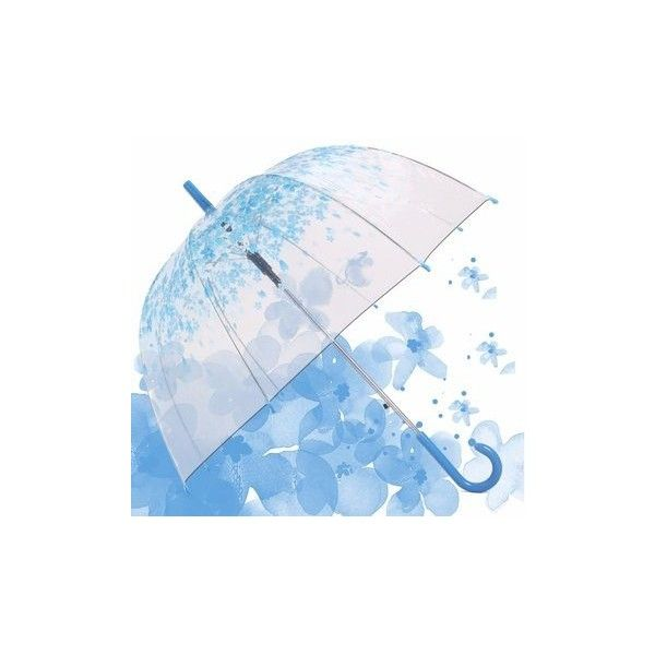 Automatic Transparent Clear Colourful Umbrella Blossom Outdoor... ($9.19) ❤ liked on Polyvore featuring accessories, umbrellas, blue, flower umbrella, blue umbrella, see through umbrella, transparent umbrella and clear umbrella