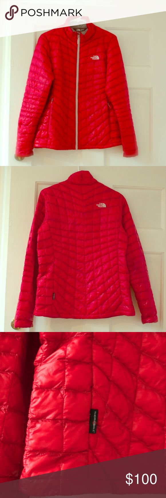 Women's medium bright red jacket SALE‼️ It great condition. Selling because I buy new stuff all the time. No low-blows or BS-- will be ignored. Thanks, happy poshing ❤️‼️ North Face Jackets & Coats