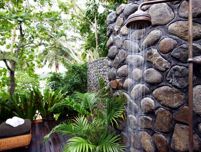 Charming Outdoor Shower W/ Tropical Garden