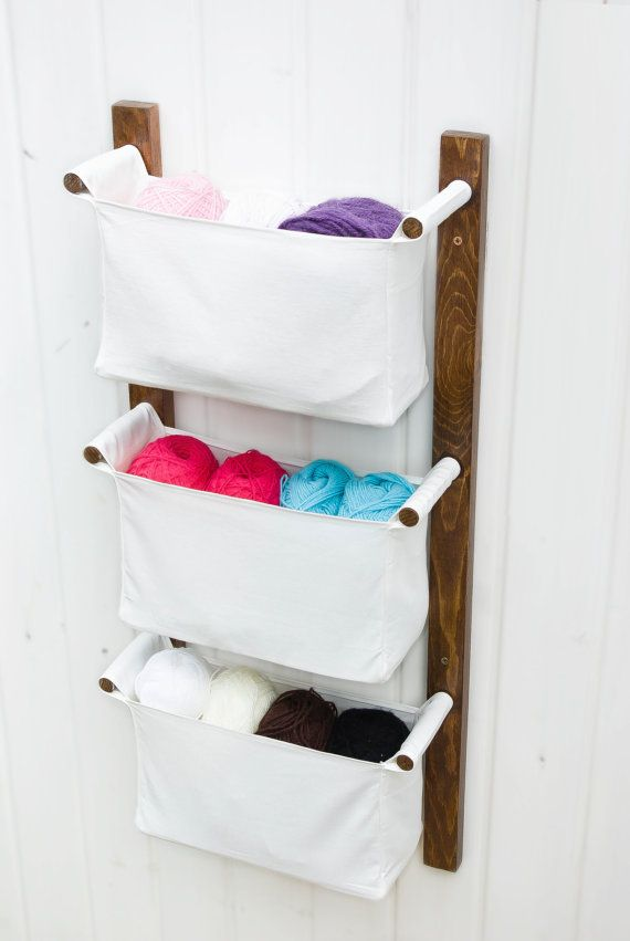 Wooden wall hanging organizer with fabric bins - white colour organizing pockets