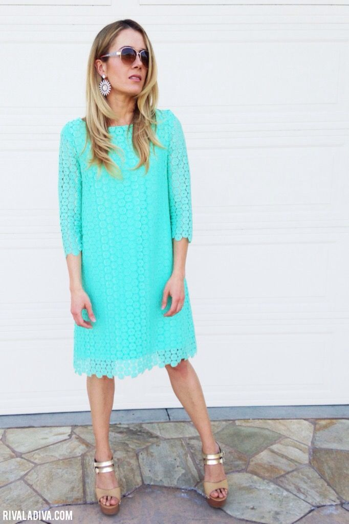 DIY Juicy Couture inspired Mint Lace Dress. McCall's M6465 dress pattern.