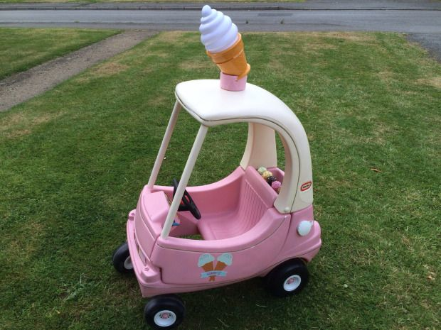 We LOVE this upcycle of a Little Tikes Crazy Coupe. Possibly most children's dream - to own their own ice cream van!