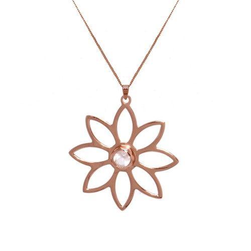 Namaqua Daisy Flower Necklace • Rose Quartz • Rose Gold