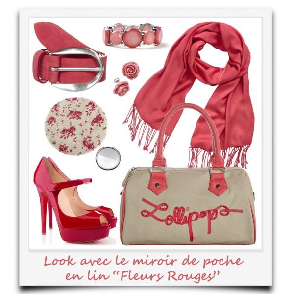 look avec le miroir de poche en lin Roses Rouges