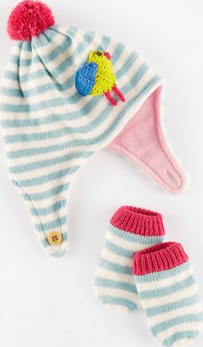 Mini Boden Knitted Hat and Mittens Set Powder Blue/Bird Super sweet and soft, we predict babies will appreciate the warm ear flaps - and try to eat the mittens. http://www.comparestoreprices.co.uk/january-2017-9/mini-boden-knitted-hat-and-mittens-set-powder-blue-bird.asp