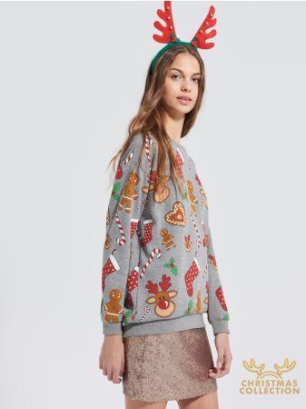 SINSAY - Świąteczna bluza <br><br>Wzrost modelki: 181 cm<br>Rozmiar produktu: S