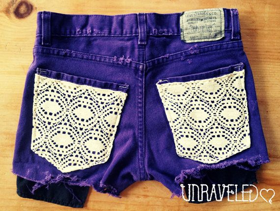Levis Denim Shorts Lace Pockets by UnraveledClothing