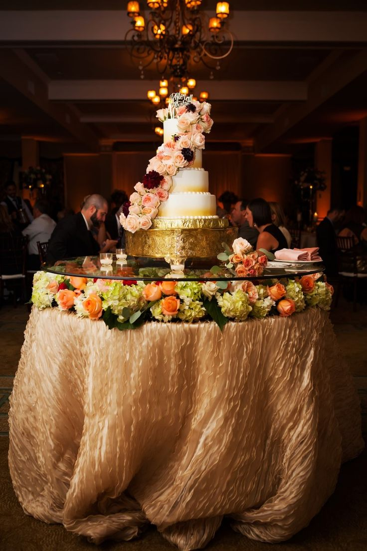 Glamorous wedding cake table with beautiful cascading florals (Limelight Photography)