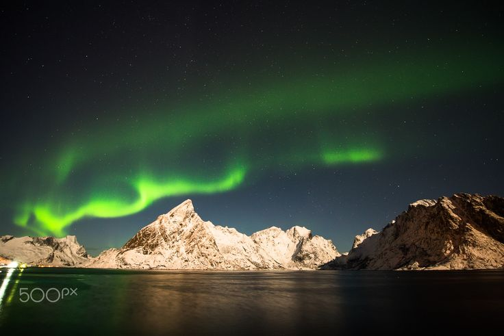 northern lights - wonderful aurora over the lofotenislands near sakrisoy. we had also a fantastic light from the moon.