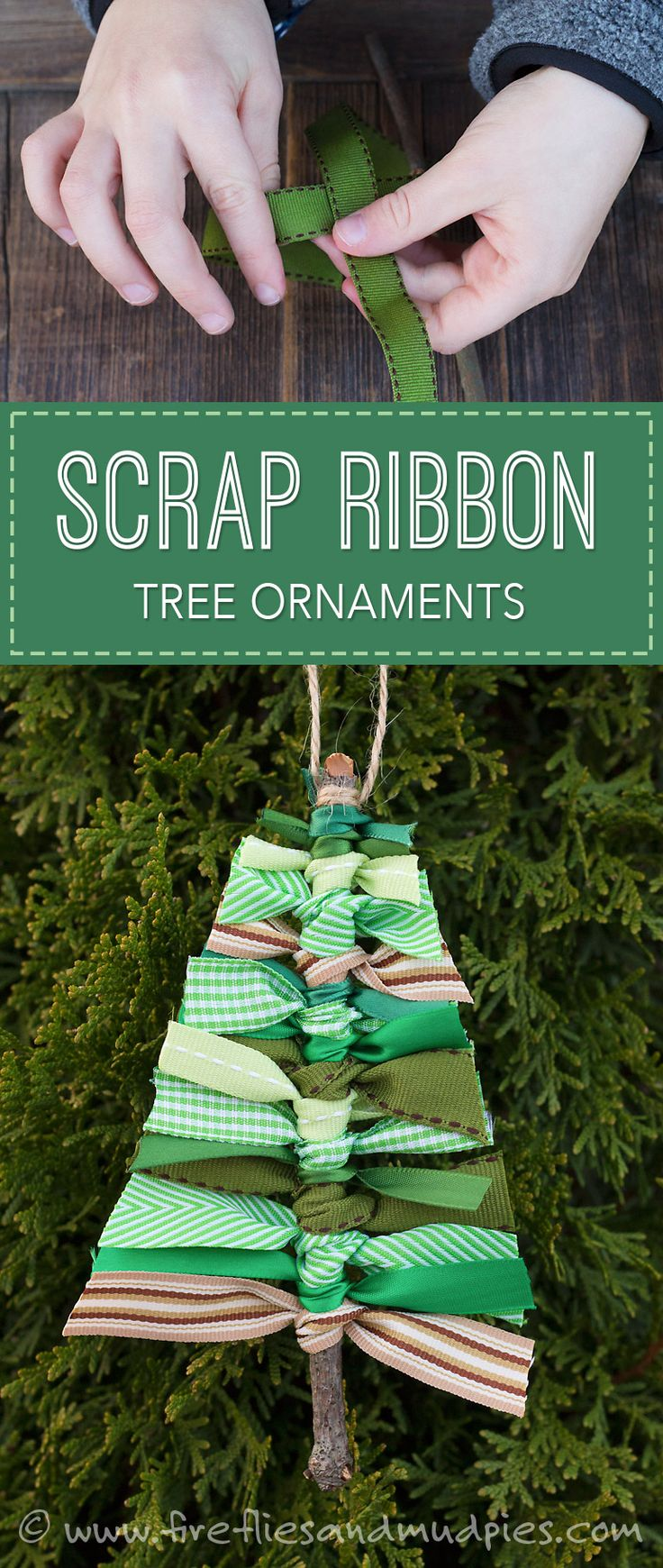 Holiday/Christmas Crafts with the kids! Scrap Ribbon Tree Ornaments | Fireflies and Mud Pies