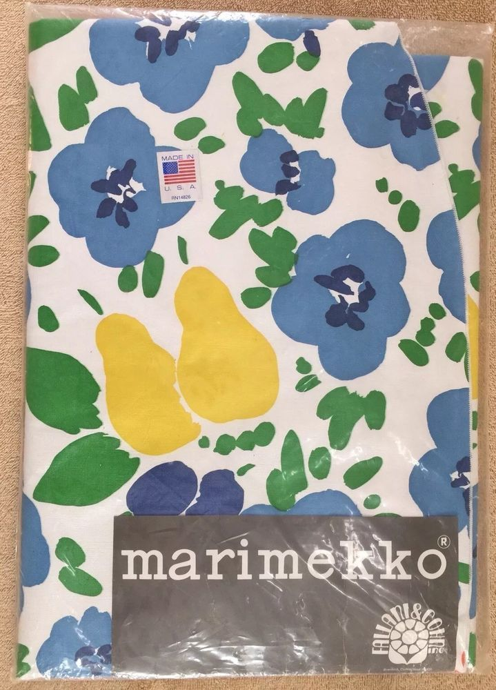 "Fallani & Cohn Vintage Marimekko Vinyl OVAL Tablecloth 60"" X 85"" Piknik Made USA"