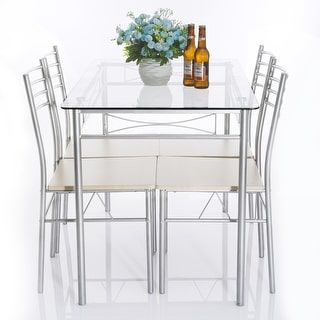 Shop for 5-piece Glass Dining Table Set, Glass Table and 4 Chair Sets Metal Kitchen Room Furniture (Silver). Get free shipping at Overstock.com - Your Online Furniture Outlet Store! Get 5% in rewards with Club O! - 19765470
