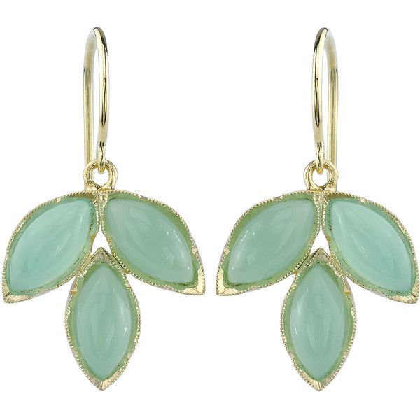 Irene Neuwirth Chrysoprase Marquis Earrings ❤ liked on Polyvore