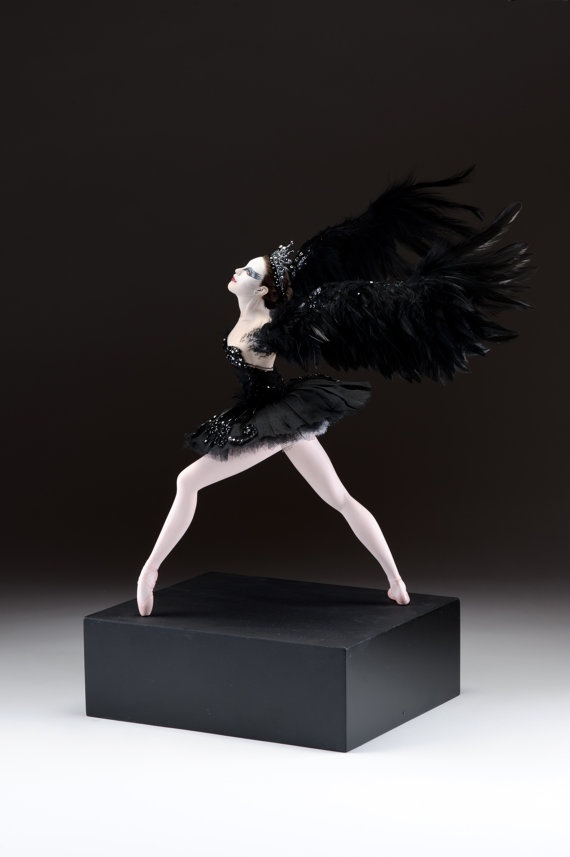 Black swan art doll by Vickie Arentz