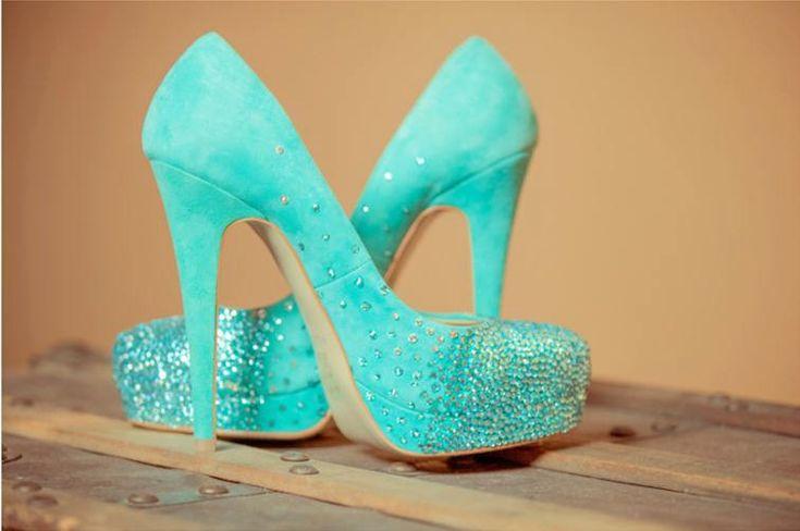 Tiffany blue wedding shoes, swarovski bridal pumps. $299.00, via Etsy.