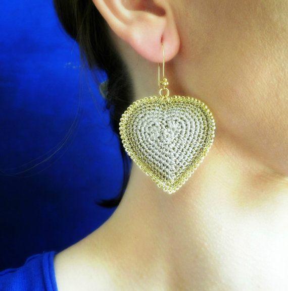 Heart earrings Orecchini a forma di cuore di BarboraJewels su Etsy
