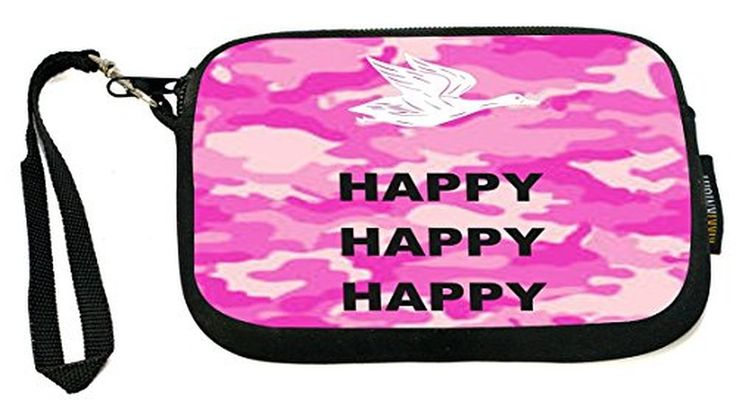UKBK Happy Happy Happy on Pink Combat - Neoprene Clutch Wristlet with Safety Closure - Ideal case for Camera, Cell Phone, Gameboy, Passport, Cosmetics