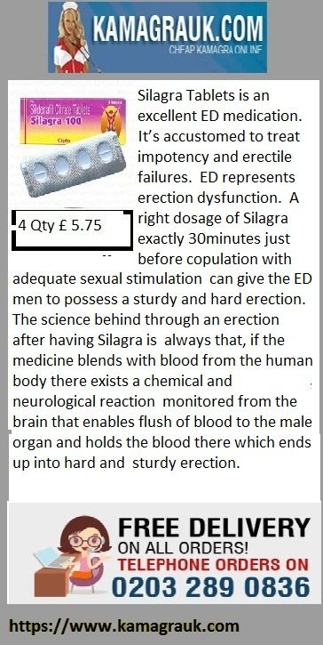 Silagra Tablets is an excellent ED medication. It's accustomed to treat impotency and erectile failures. ED represents erection dysfunction. A right dosage of Silagra exactly 30minutes just before copulation with adequate sexual stimulation can give the ED men to possess a sturdy and hard erection.