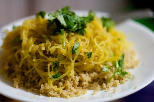"""""""Best Ever"""" Spaghetti Squash recipe.... spaghetti squash, chickpeas, cilantro, cumin, coriander and more.. was definitely a WIN.  Very Indian-esque (which we love).  Jo loved it with marinara and a little cheese and nutritional yeast... just like a super nutrient rich spaghetti!!"""