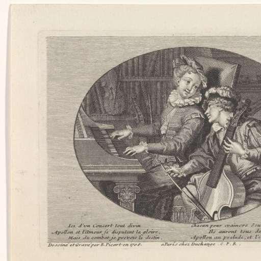 Musicerend paar, Bernard Picart, Gaspard Duchange, Lodewijk XIV (koning van Frankrijk), 1708 - Rijksmuseum