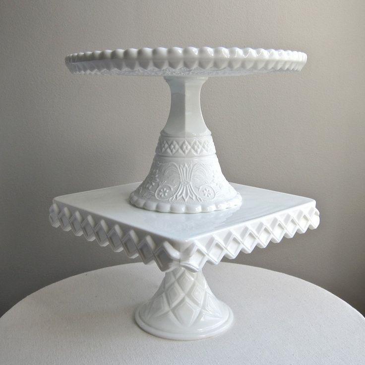 Milk Glass Wedding Cake Stand by Duncan Miller Sandwich Pattern