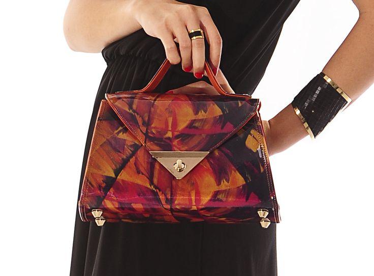 Colorful bag, Orange handbag, Printed handbag, Plastic handbag, PVC bag, Shining handbag, Vegan bag, Shoulder bag, Women bag, Crossbody bag by ArtByMalinca on Etsy