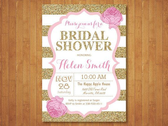 Pink and Gold Bridal Shower Invitation. Pink Black Gold Glitter. Floral. Bridal Brunch Invitation. Black Stripes. Printable Digital.