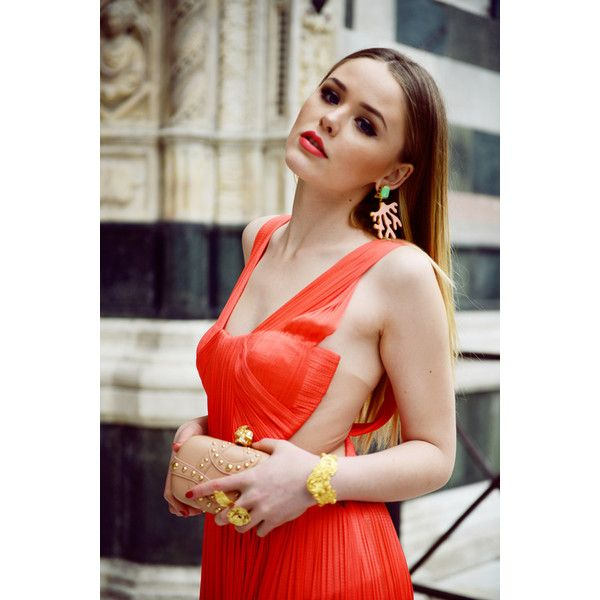 LUISA VIA ROMA STYLE LAB CORAL LOOK ❤ liked on Polyvore featuring kayture, kristina bazan, coral, pics and backgrounds