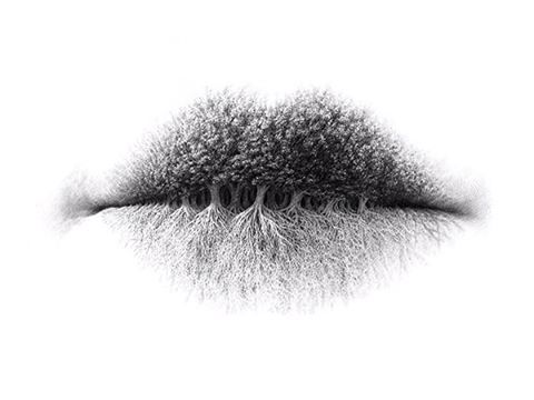 """Illustrator @christo_dagorov's Lips Series begs the question, """"If trees could talk, what would they say?"""""""