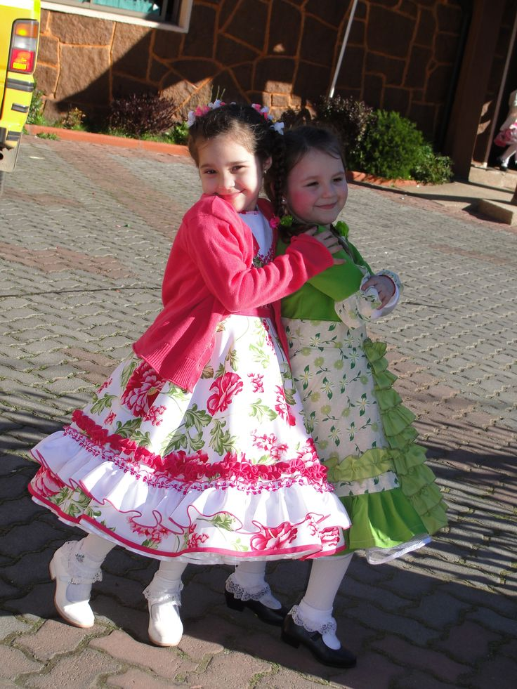 "My daughter and her friend wearing our traditional Chilean ""huasa"" dress  Chilean ""China"" dress - vestido de China chilena"